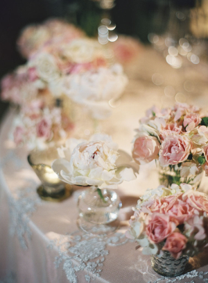 Pink and White Reception Arrangements