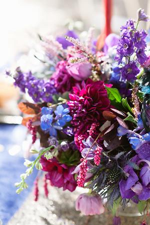 Purple Blue and Fuchsia Flower Arrangement