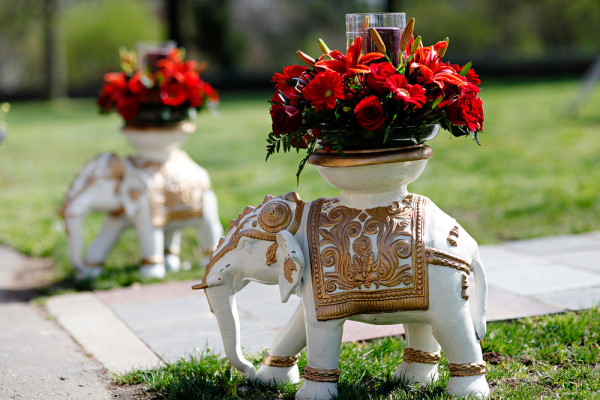 Red Flowers on Elephant Statues