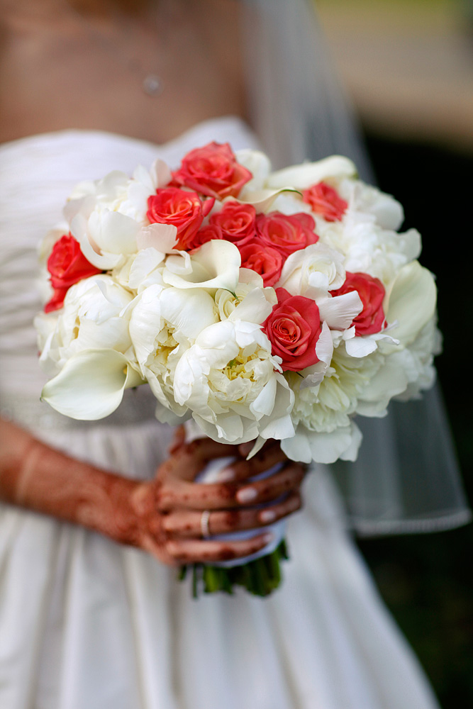 red and white calla lily rose and peony bouquet