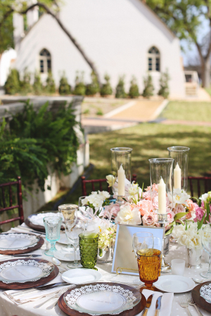 Rose Gold Green and Pink Reception Table Decor