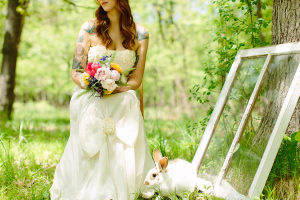 Rosettes and Bows on Strapless Wedding Gown