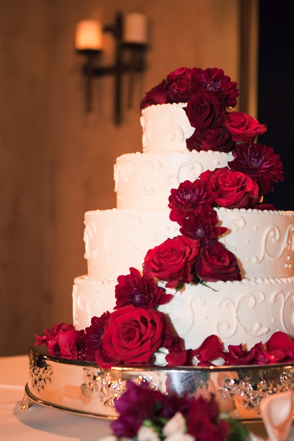Black And White Square Wedding Cake With Red Roses
