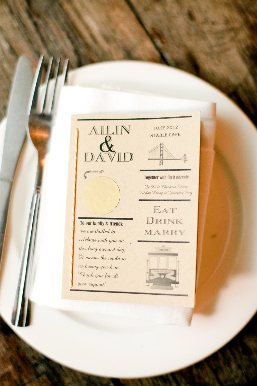 San Francisco Motif Wedding Dinner Program Elizabeth Anne Designs The Blog