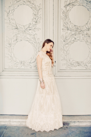 Scalloped Cream Lace Wedding Gown