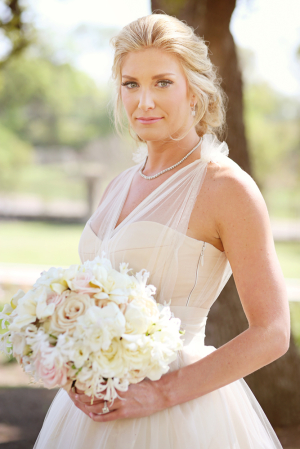 Sheer Top Over Strapless Wedding Gown