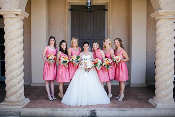 Short Pink Silk Bridesmaids Dresses