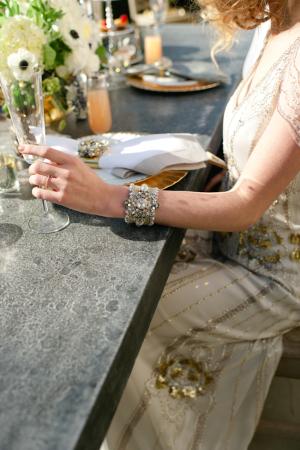 Silver Rhinestone Art Deco Bracelet