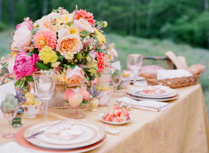Spring Florals and Fruit Table Decor