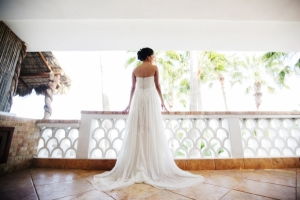 Strapless Gown With Long Sheer Skirt