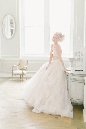 Strapless Gown With Rhinestone Waist and Tulle Skirt