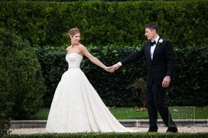 Strapless Gown With Textured Overlay