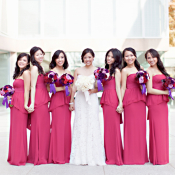 Strapless Pink Bridesmaids Dresses