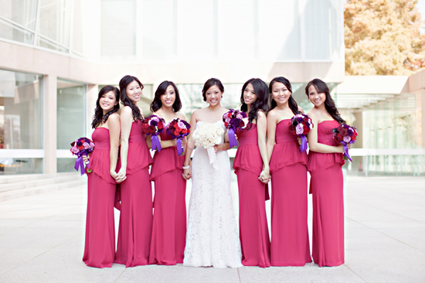 Strapless Pink Bridesmaids Dresses