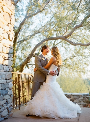Strapless Wedding Gown With Full Ruffled Skirt