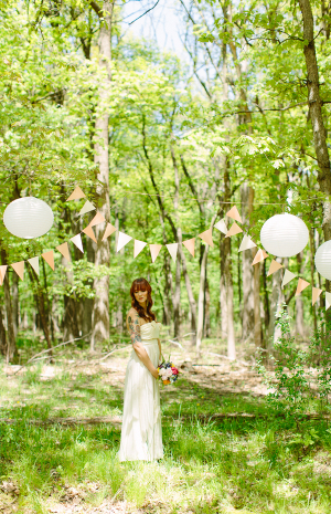 Streamers and Paper Lanterns Outdoor Ceremony Decor