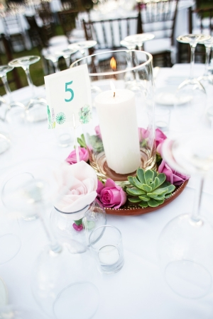 Succulent Rose and Candle Centerpiece