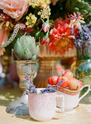 Succulents Cherries and Lavender Table Decor