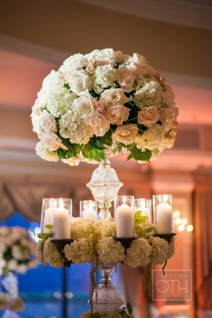 Tall Hydrangea Rose and Candle Arrangement
