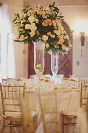 Tall Reception Flowers in Glass Vases