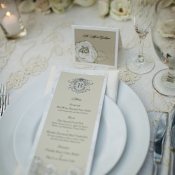 Taupe and Ivory Reception Menu Card