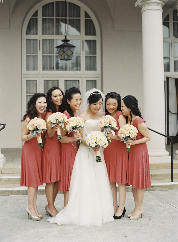 Tea Length Coral Bridesmaids Dresses