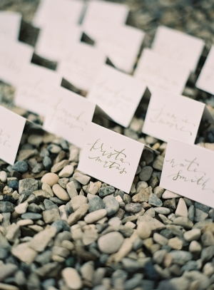 Tented Place Cards in Pebbles
