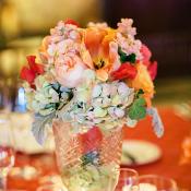 Vibrant Flowers in Silver Vase