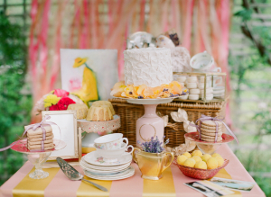 Vintage Pink and Yellow Dessert Table