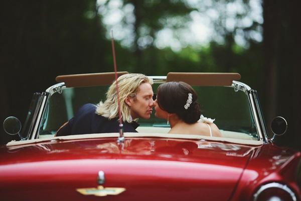 Vintage Red Convertible Getaway Car