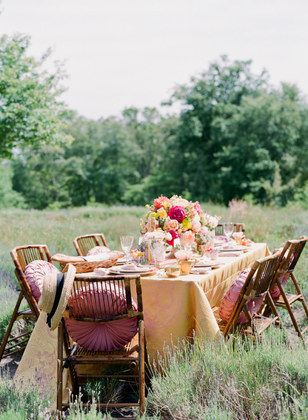 Vintage Tablescape in Field