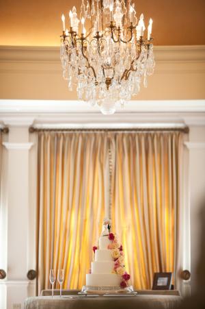 Wedding Cake With Cascading Rose Garland