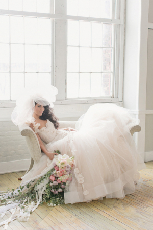 Wedding Gown With Full Tulle Skirt and Veil