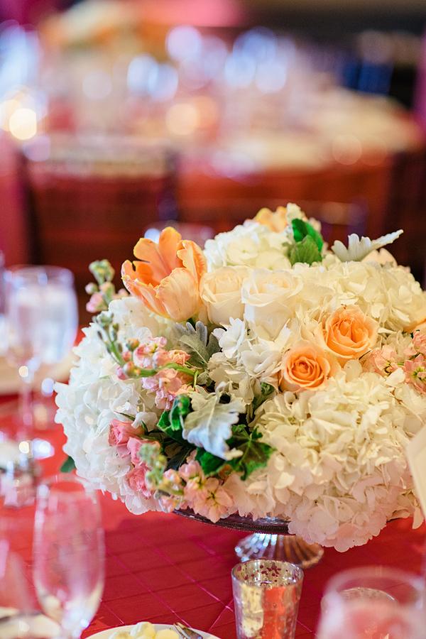 White Hydrangea and Peach Rose Arrangement