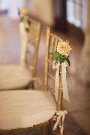 Yellow Rose on Gold Chiavari Chair