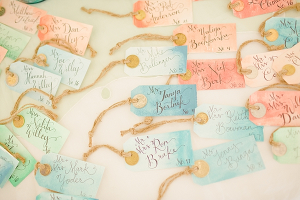 Aqua and Coral Watercolor Reception Place Cards