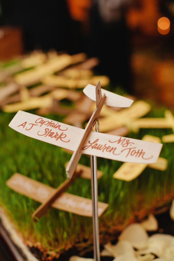 Balsa Wood Plane Reception Place Cards