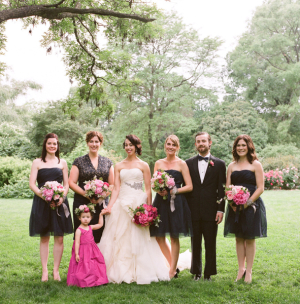 Black and Hot Pink Bridal Party Dresses