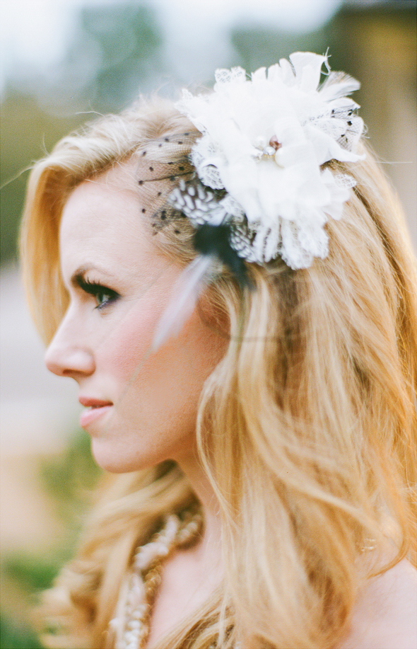 Black And White Flower Clip Bridal Hair Accessories