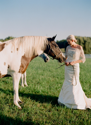 Bride on Farm With Horses