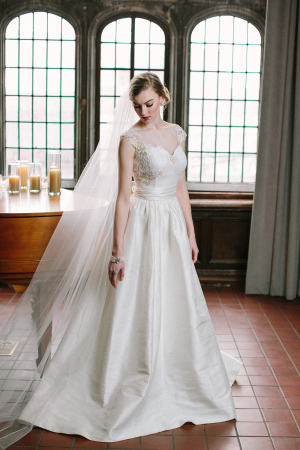 Cap Sleeve Silk Gown