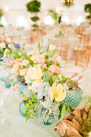 Caribbean Blue Pink and Yellow Reception Decor