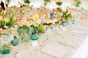 Caribbean Blue and Pink Reception Decor