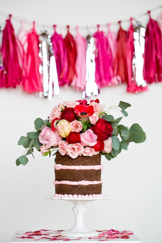 Chocolate and Pink Naked Cake