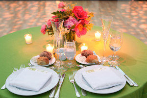 Citrus Green and Pink Bride and Groom Table