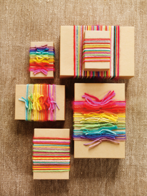 Colorful Yarn Wrapped Favor Boxes