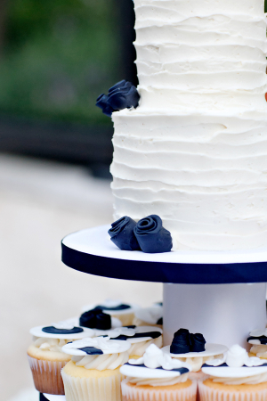 Combed Icing Wedding Cake With Blue Flowers