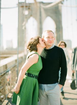 Couple Kissing on Brooklyn Bridge