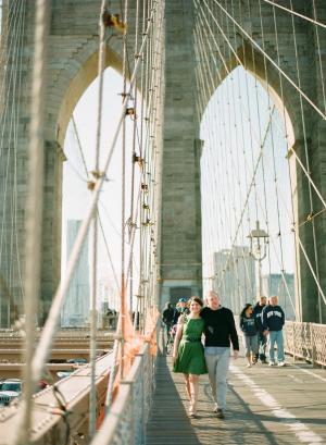 Couple Walking on Brooklyn Bridge