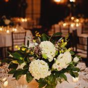 Cream Hydrangea and Magnolia Leaf Reception Arrangement